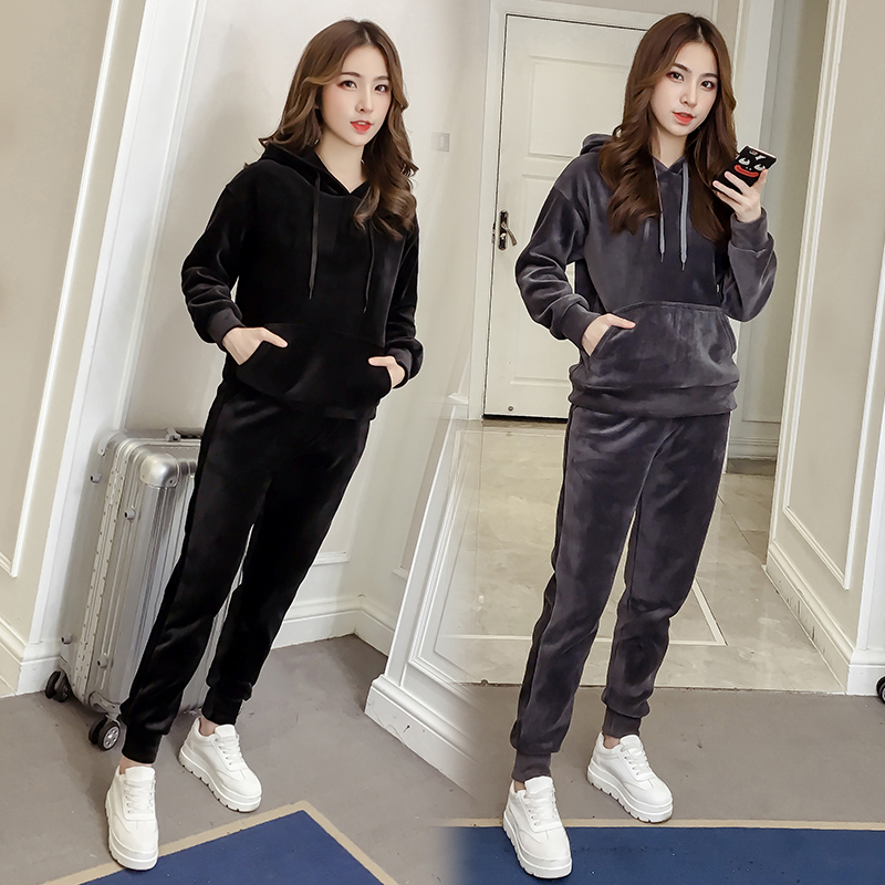 Velvet Tracksuit Two Piece Set Women Sexy Hooded Grey Long Sleeve Top And Pants Bodysuit Suit Runway Fashion 18 Black D79101 6