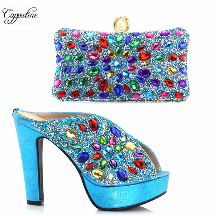 Элегантные вечерние сандалии обувь и сумки набор с цветными камнями идеальное совпадение для вечернее платье S831 Комплект синего цвета