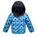 New Winter 2016 Kids Parka Down Coats Fashion Five Stars Pattern Printed Hooded Unisex Outwear Jacket Casual Boys &GirlsClothes