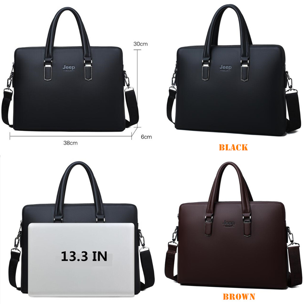 JEEP BULUO Men Leather Briefcase Bag Business Famous Brand Shoulder Messenger Bags Office Handbag 14 inch Laptop High Quality