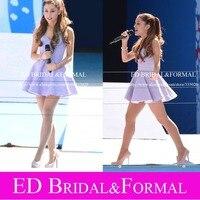 Ariana Grande Lavender Dress Sweetheart Satin Short Prom Dress Celebrity Gown Vestido De Festa Curto