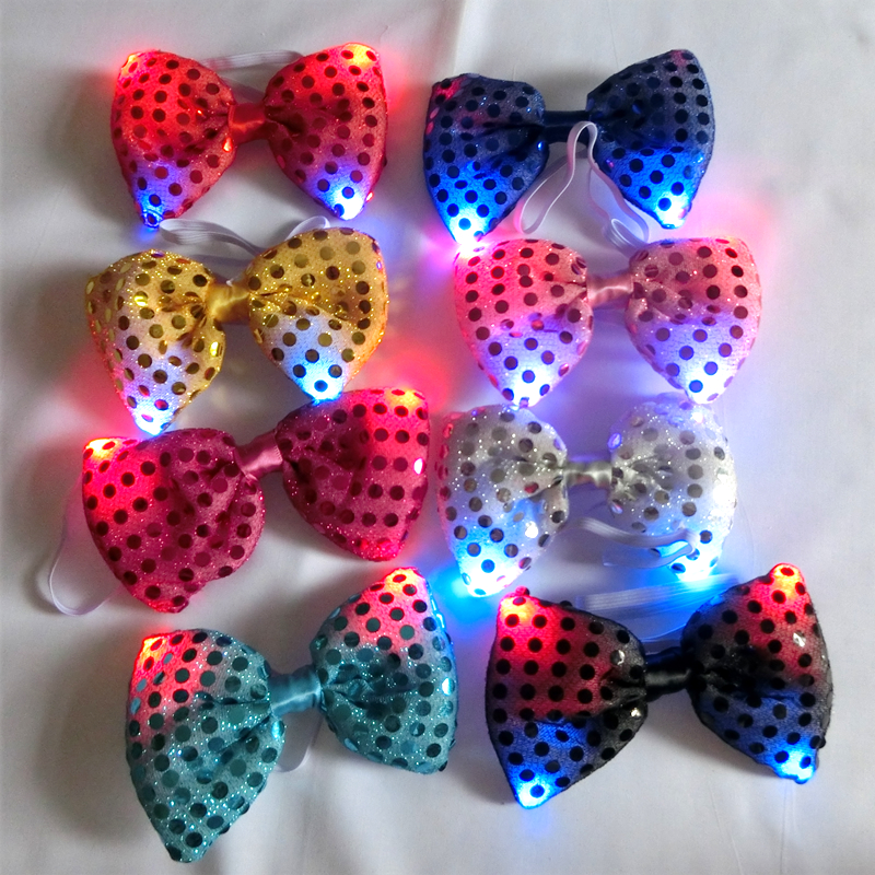 10 sztuk / partia Party Light Up LED Miga Bowtie na Stage Show Christmas Dancing