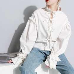 ЛИВА девушка новый осень Stnad воротником с длинным рукавом сплошной Цвет бежевый свободные лотоса край Разделение совместное рубашка Для