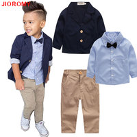 2017 Boys Autumn New Gentleman Suit Jacket Shirt Pants 3 Pieces Coat Long Sleeve Top Cardigan