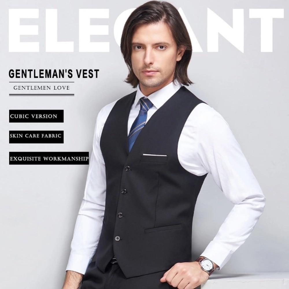 Goedkope Verkoop Mannen Formele Classic Business Vest Slim Fit Tuxedo Casual Gilet Nieuwe Business V-hals Pak Vest Bruidegom Wear