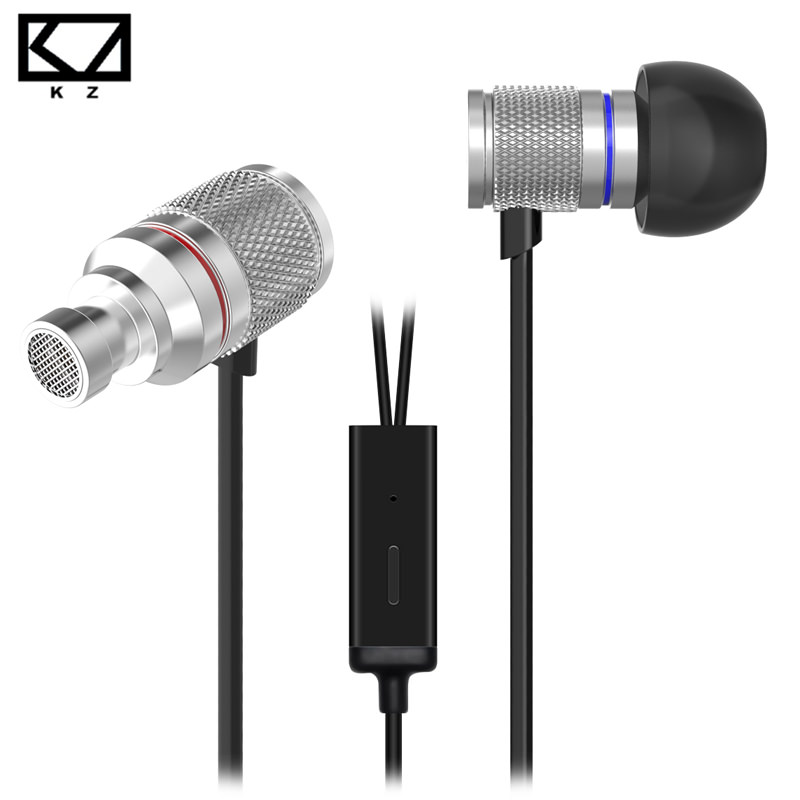 цена на KZ HDS3 Mini Earphone Silver Exquisite Shiny Lightweight Monitoring In Ear Metal Dynamic Drive Ship from Germany With Microphone