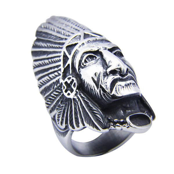 316l Stainless Steel Ring Personal Design Big Indian Biker Ring Bad Ass Mens Jewelry Silver Indian Ring In Rings From Jewelry Accessories On