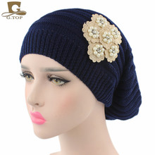 New women slouchy knit chemo hat baggy long cap knitted beanie with pearled cotton beige flower