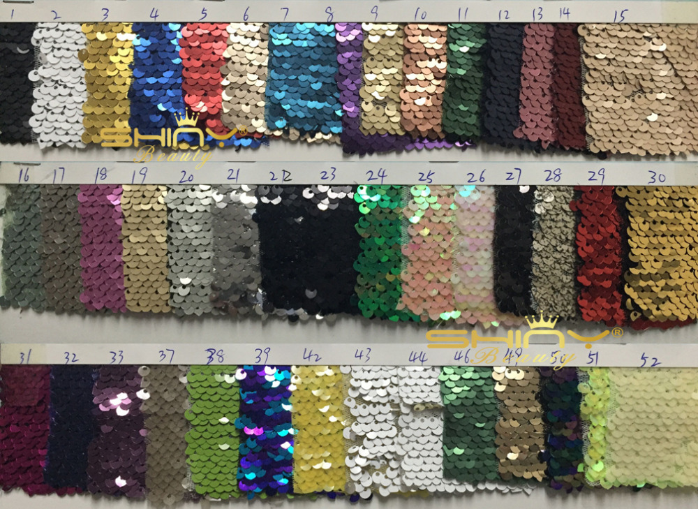 Two Toned Mermaid Fish Scale Sequin Fabric Material RED SILVER
