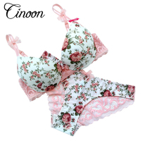 Famous Brand Sexy High Quality Women Print Bra Set Silk Lace Flower Push Up Big Size