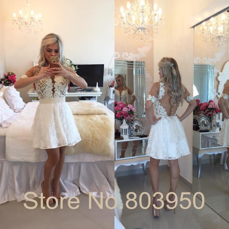 253a72fc5c White 8th Grade Graduation Dress Short Sleeve Sheer Vestido De Festa ...
