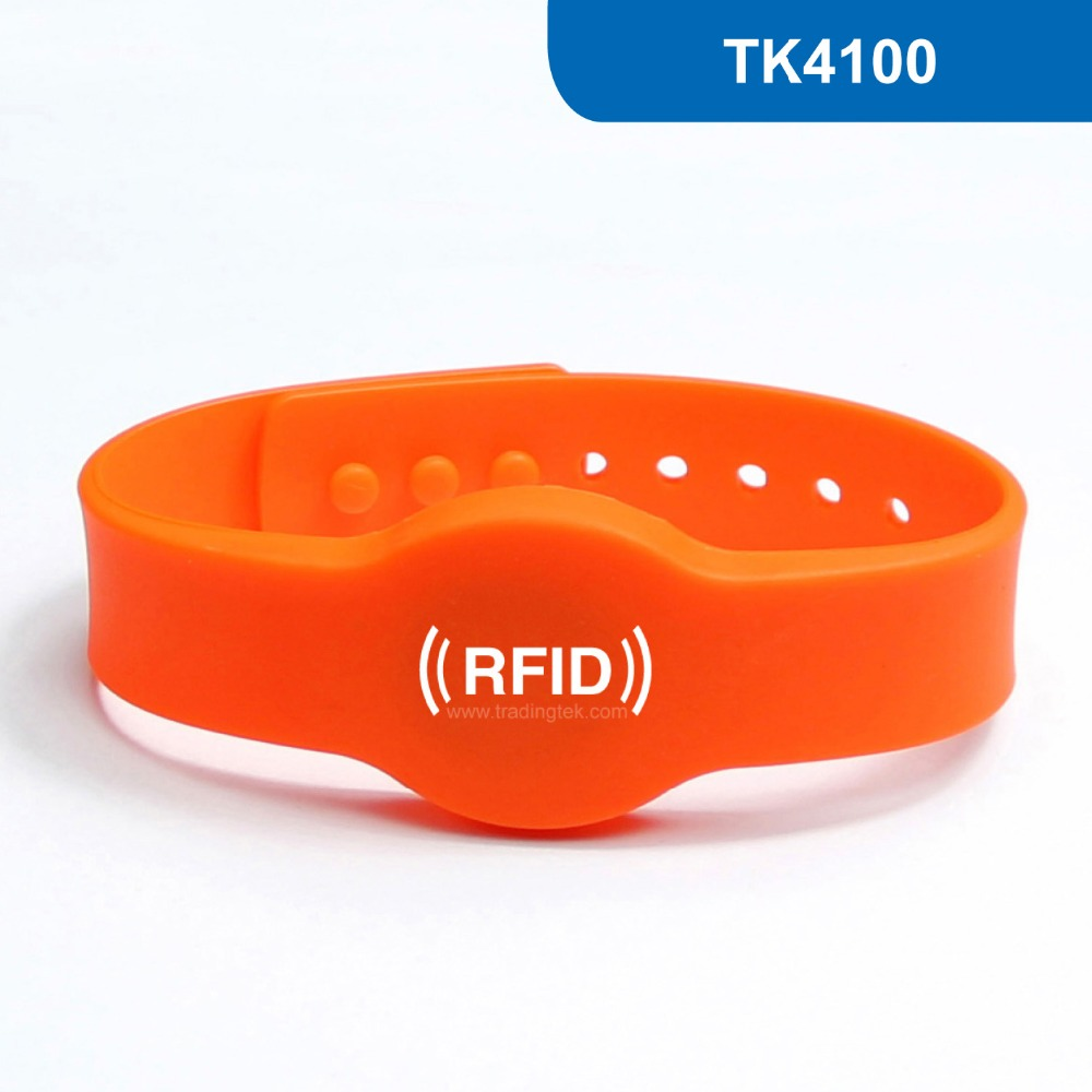 WB04 Silicone RFID wristband  RFID Bracelet for access control ID Smart Tag Proximity Card 125KHz with TK4100 Chip Read Only waterproof contactless proximity tk4100 chip 125khz abs passive rfid waste bin worm tag for waste management