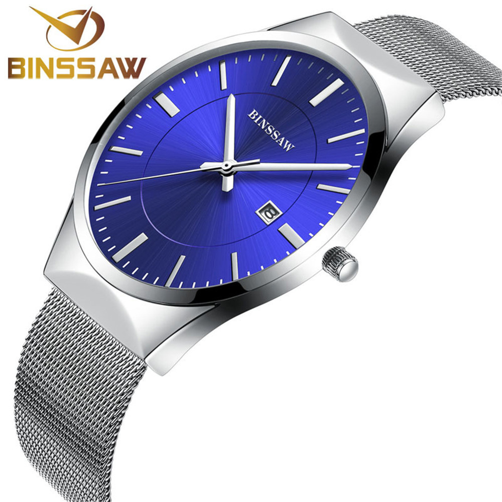 New Fashion Men's Watches Top Brand Binssaw Sport Watch Men Quartz-watch Stainless Steel Ultra Thin Dial Clock Relogio Masculino mcykcy fashion top luxury brand watches men quartz watch stainless steel strap ultra thin clock relogio masculino 2017 drop 20