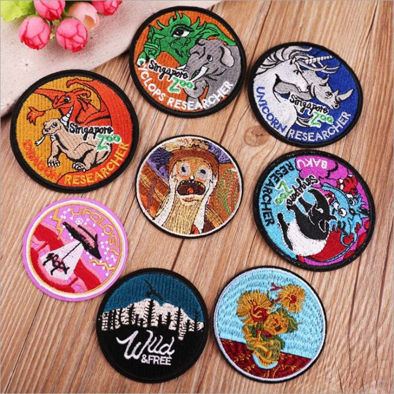 DOUBLEHEE Round Cartoon Animal Patch Embroidered Patches For Clothing Iron On Close Shoes Bags Badges Embroidery