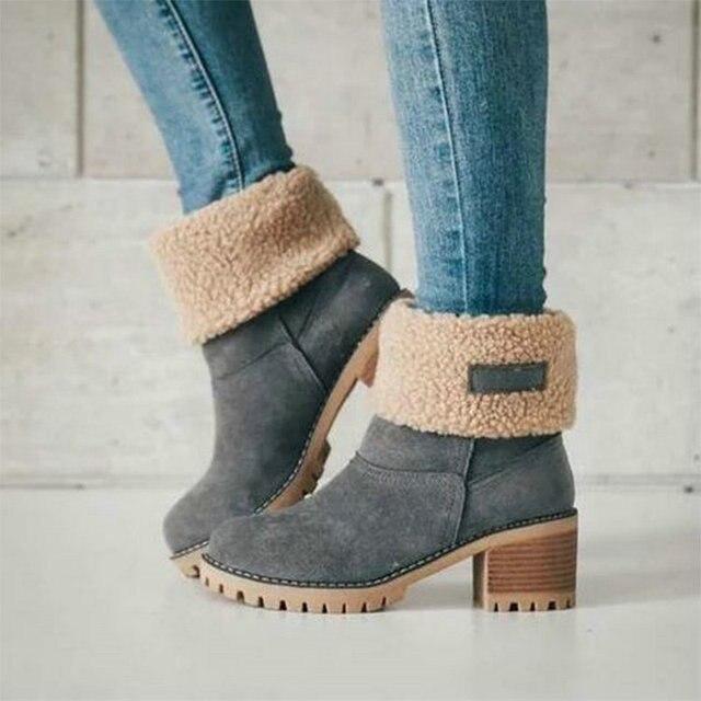 Зимние плюшевые теплые женские ботинки; модель 2018 года; женские зимние ботильоны на квадратном каблуке; женская обувь на платформе с искусственным мехом; женская повседневная обувь