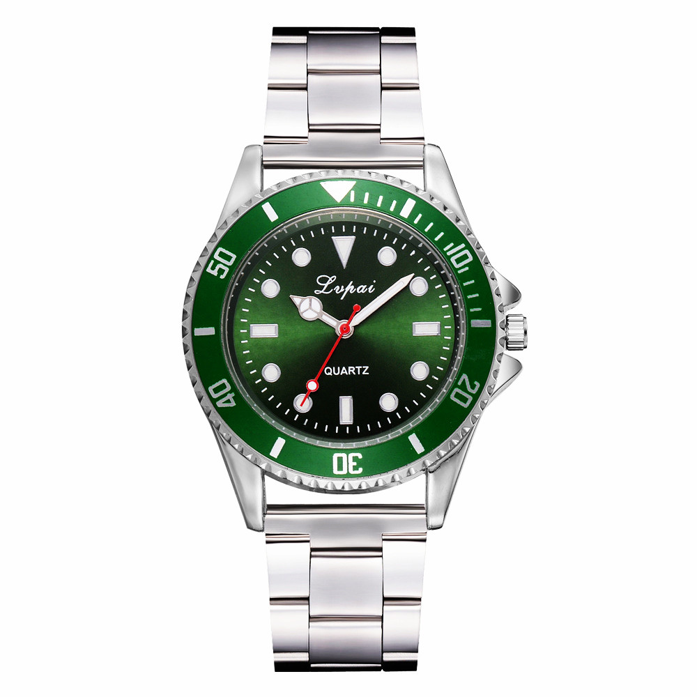 Luxury Silver Men Dress Watches Green Color Stainless Steel Quartz Movement Waterproof Casual Business Man's Wristwatch Brand R