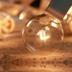 Image 4 - مصباح أوتار حفل الزفاف الأبيض VNL ، مصباح إكليل ديكور للحدائق بتصميم كلاسيكي مع 25 مصباح كرة شفاف للفناء والمظلات المعلقة في الهواء الطلق