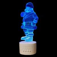Altavoces Bluetooth de Santa Claus  3D luz nocturna  lámpara LED de colores para dormitorio  luz 3D con musica por USB  lámpara de ambiente Paty para regalo