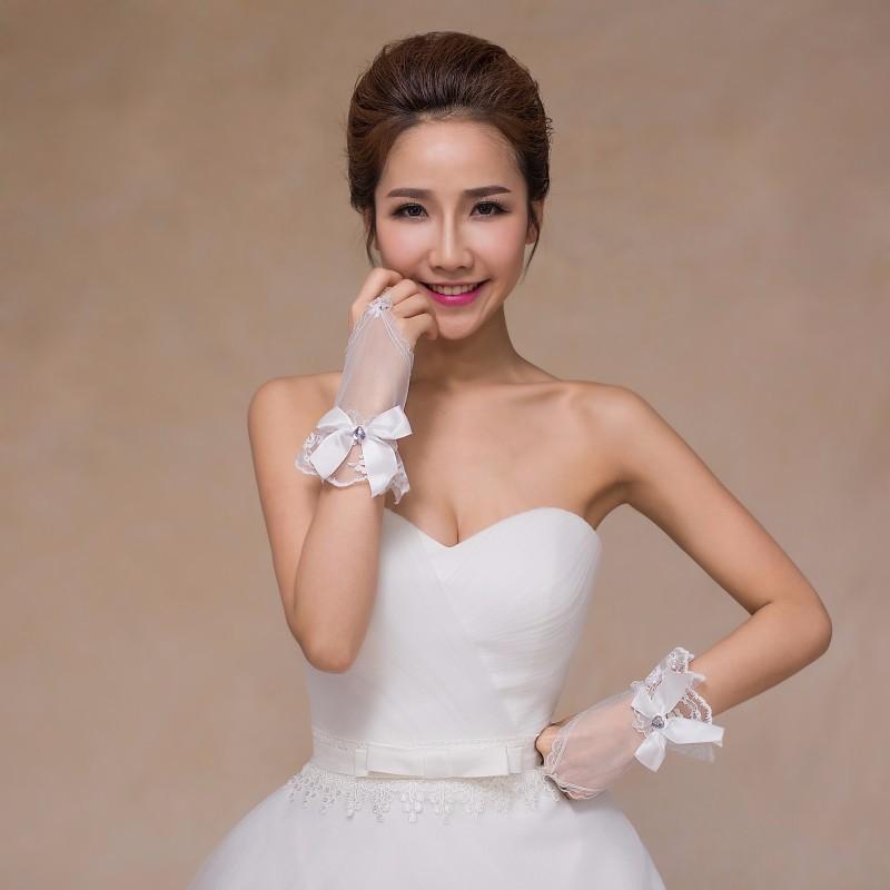Elegant Bow Fingerless Short Wedding Gloves Wedding Accessories