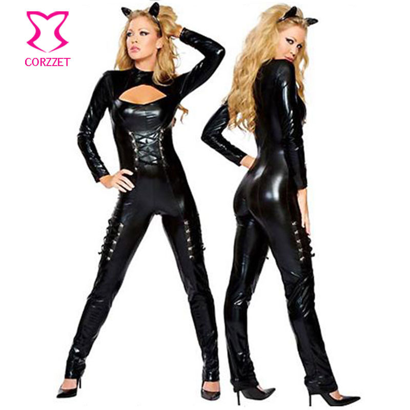 Hot Black Front Zipper Sexy PVC Latex Catsuit Women Cat Costume Hallween Carnival Party Cosplay Body Suits Jumpsuit For Clubwear