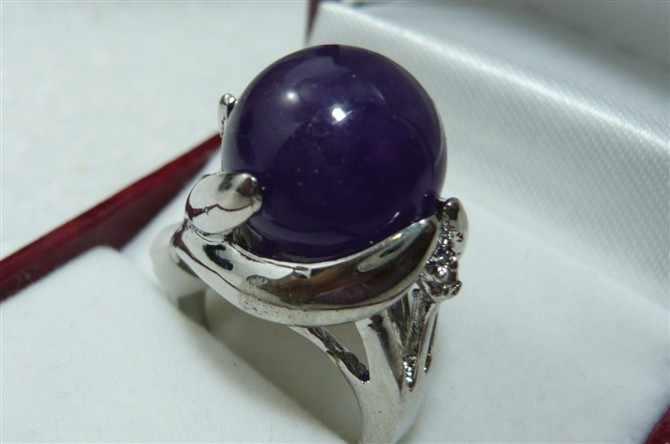 ขายส่ง noble 14 มม. สีน้ำเงินเข้มหยกธรรมชาติแหวนแฟชั่น (#7.8.9)