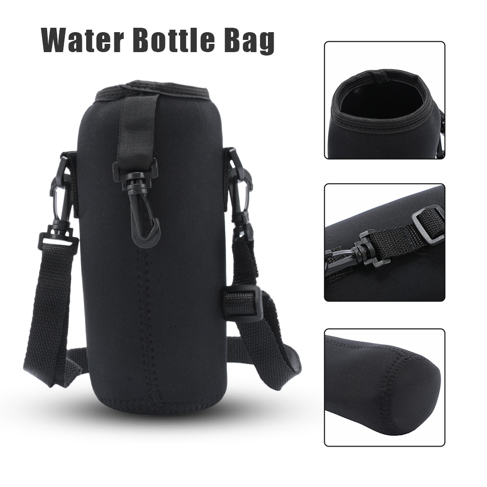 Cup-Bag Water-Bottle-Carrier Strap Travel-Accessories Neoprene-Insulated-Cover New Black