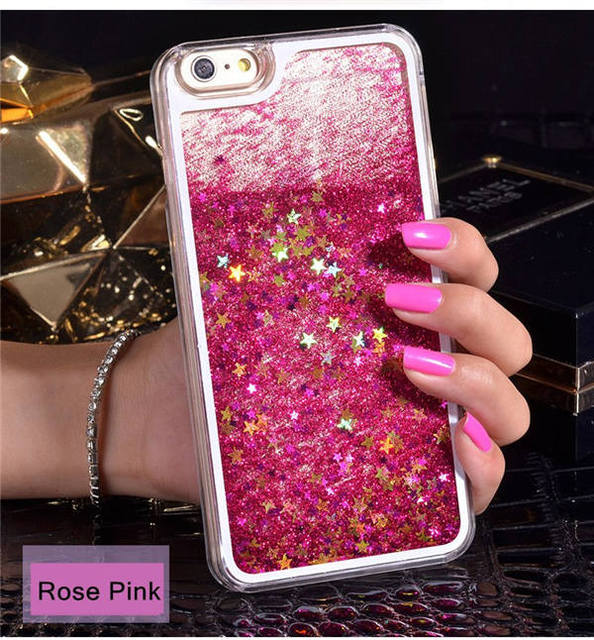 NEW Luxury Glitter Liquid Sand Quicksand Star Case for iphone 4 4S 5 5S SE  6 6S 7 8 Plus X 10 Transparent Clear Hard Cover 7510eb8fb