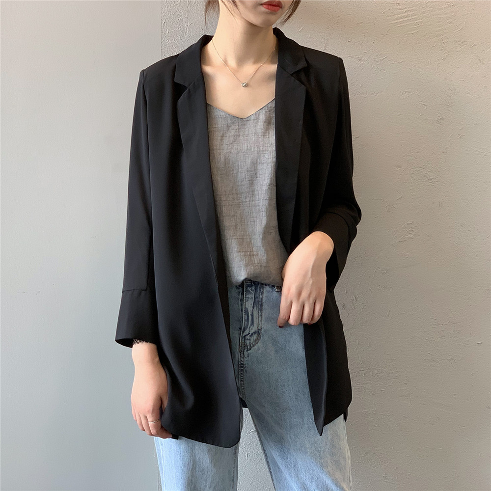 Summer Women Office Thin Suit 2019 Small Long Sleeve Chiffon Suit Jacket Women`s Autumn Work Blazer Suit All Match Suit Y0506 (16)