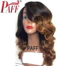 36C Ombre Полный Парик Шнурка Человеческих Волос Плотность 150% # 1BT30 Бразильский Бесклеевой
