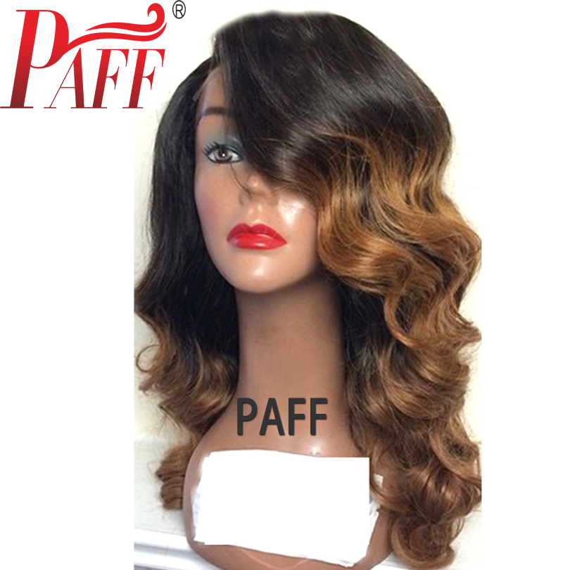36C Ombre Full Lace Human Hair Wig 150% Density #1BT30 Brazilian Glueless Remy Hair Wig Baby Hair Side Part Bleached Knots ...