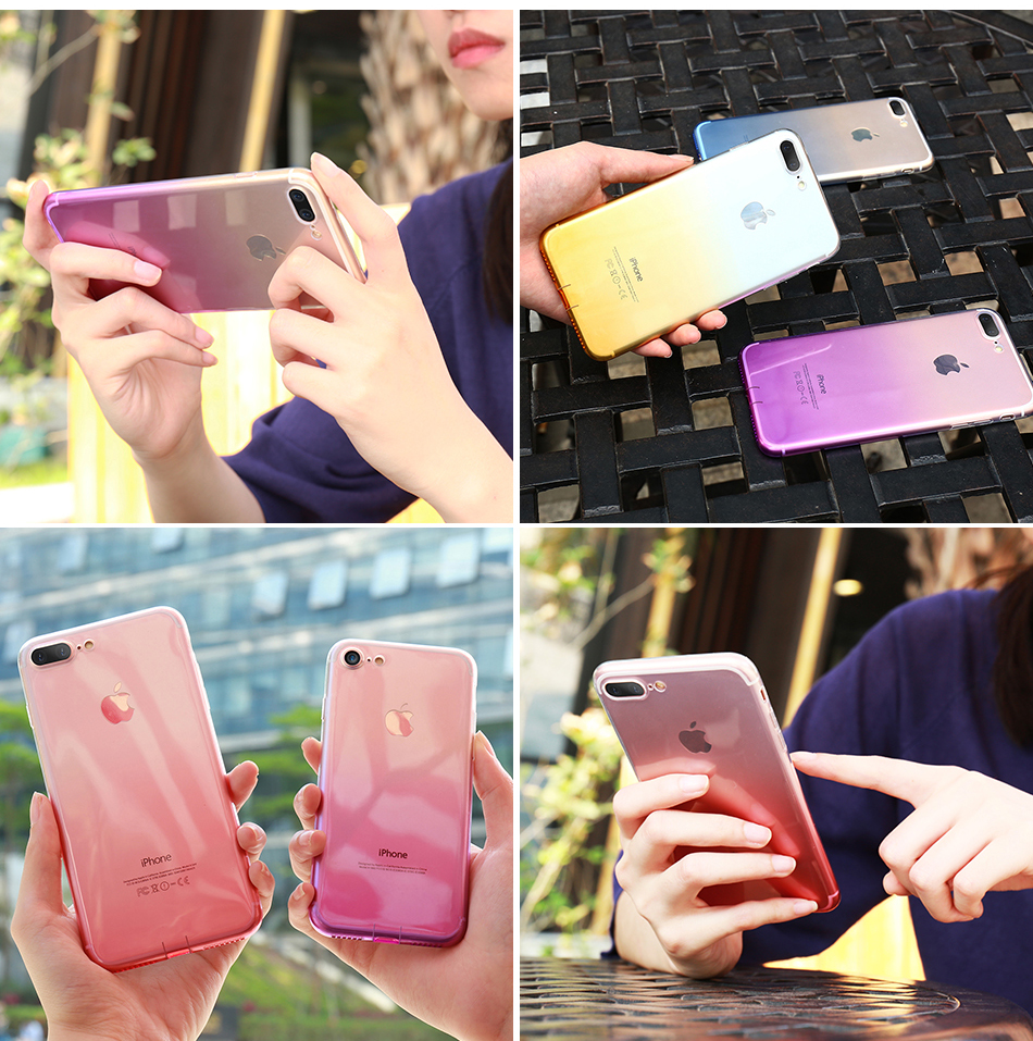FLOVEME Gradient Phone Case For iPhone 7 6 6S Plus 5 5S SE Luxury Silicon Soft TPU Thin Back Cover For iPhone 5 6S 7 Plus Cases (8)