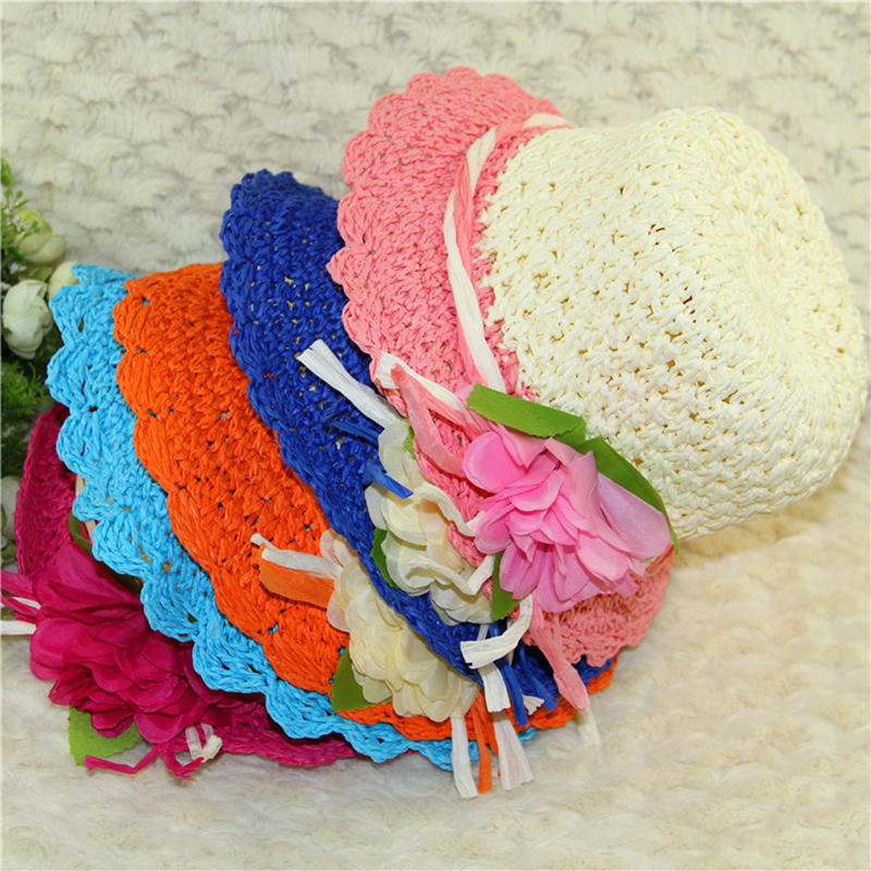 KüHn Nette Kinder Sommer Crochet Straw Strand Sonnenhut Mit Blumen Dauerhafter Service Mädchen Der Hüte Mädchen Zubehör