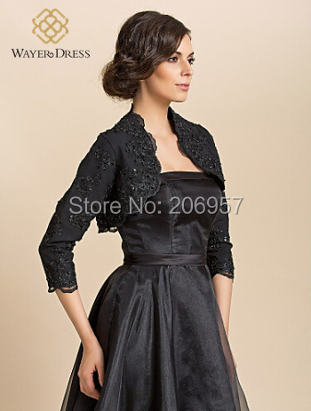 Formal Dress Black Lace Appliques Beaded Boleros Accessories ...