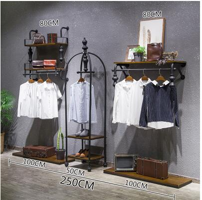 Clothes rack for iron arts clothing store. Display rack. Wall hanging side hang clothes rack22