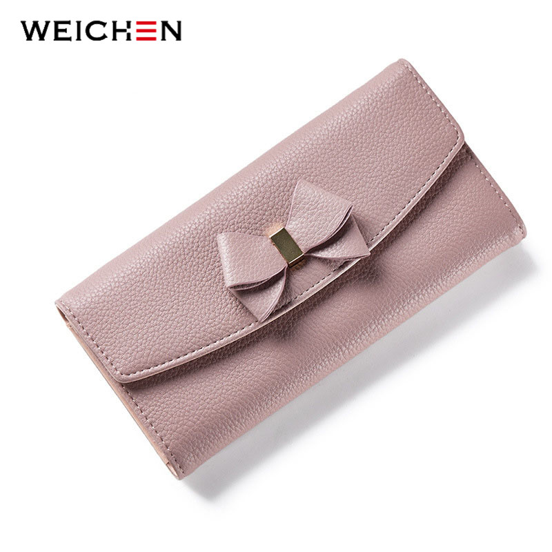 где купить WEICHEN New Design Bow Women Long Wallet Solid Simple HASP Fashion Evening Clutch Brand Lady Purse Female Phone Card Coin Pocket по лучшей цене