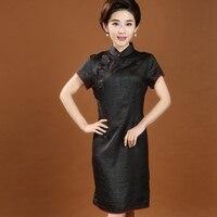 New Arrival 100% Silk Chinese Traditional Dress Women's Vintage Cheongsam Top Quality Short Qipao M L XL XXL XXXL 4XL 7087