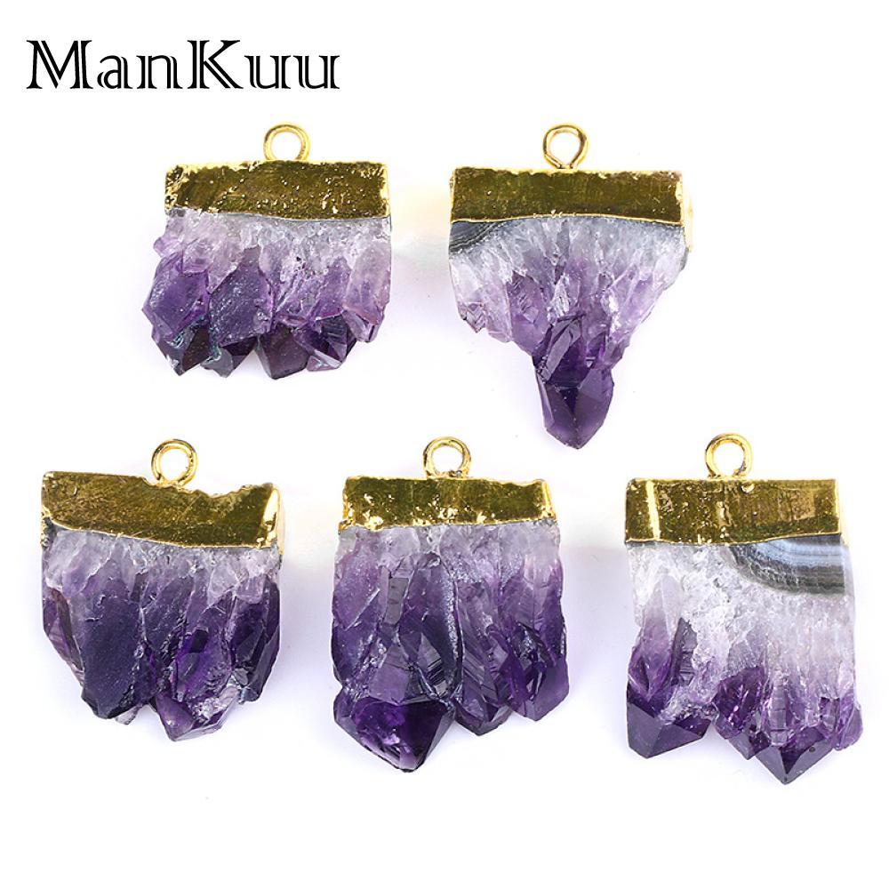 Mankuu Irregular Purple Crystal Pendants Gold Plating Amethysts Pendants High Quality Natural Stone Pendants For Jewelry Making