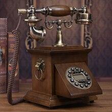 Твердой древесины Модные Винтажные телефон бытовой телефон громкой связи/синий экран/Идентификатор вызывающего абонента