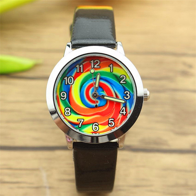 free shipping boys and girls lovely rainbow candy dial quartz watch kids cute Lu