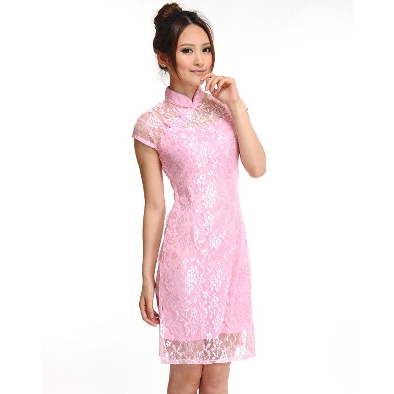 Mujeres retro Delgado chino Encaje cheongsam qipao Qi PAO vestido de ...
