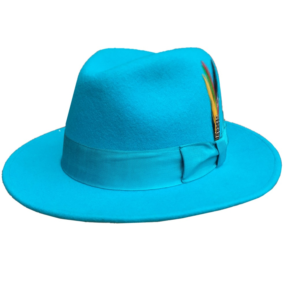 Classic Light Blue Classic Men s Wool Felt Fur Fedora Hat Godfather Hat Design in Italy
