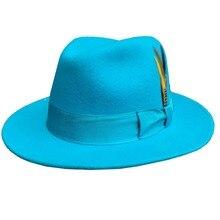 Classic Light Blue Classic Men 's Wool Felt Fur Fedora Hat Godfather Hat - Desig
