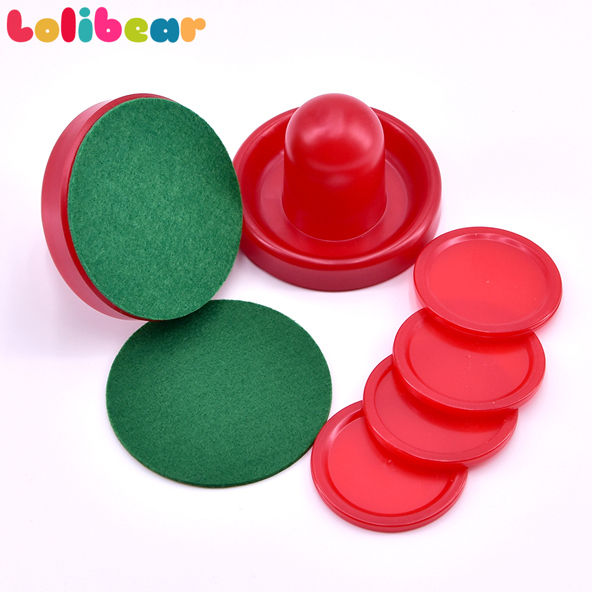 2Pcs/set Of Air Hockey Pushers And Air Hockey Puck 76mm Goalies Ball Table Goalies With Puck Felt Pusher Mallet Grip Red