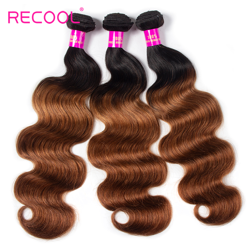 Recool Hair Brazilian Hair Weave Bundles Body Wave Bundles 1B 30 Ombre Hair Bundles Remy Human