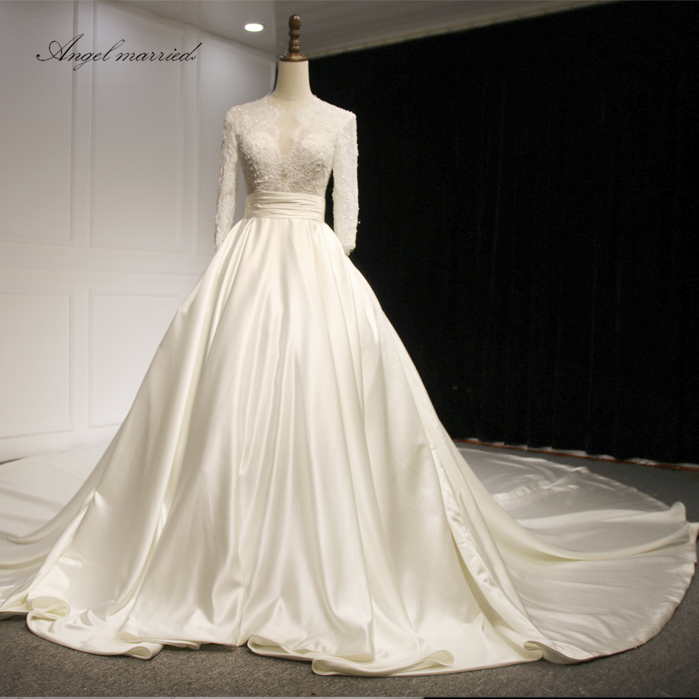 Wedding Gown With Neck Detail: Aliexpress.com : Buy Angel Married Wedding Dresses 2018