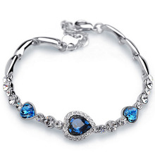New Arrival Fashion Fine Jewelry Women Crystal Heart-shaped Bracelet Elegant Handmade Braided Rope Bracelet