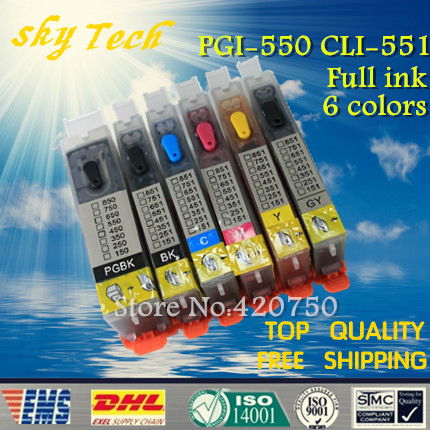 PGI550 CLI551 , 6 color refillable cartridges suit for Canon MG6350 ip7250 MG5450 , With ARC chips , Full Ink 5 color ciss system for canon pgi 550xl cli 551xl pgi550 cli551 550 for canon mg5450 ip7250 7250 printer with arc chip