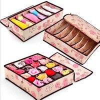 3 In 1 Pink Grid Pattern Non Woven Fabric Folding Storage Box Bag For Bra Underwear