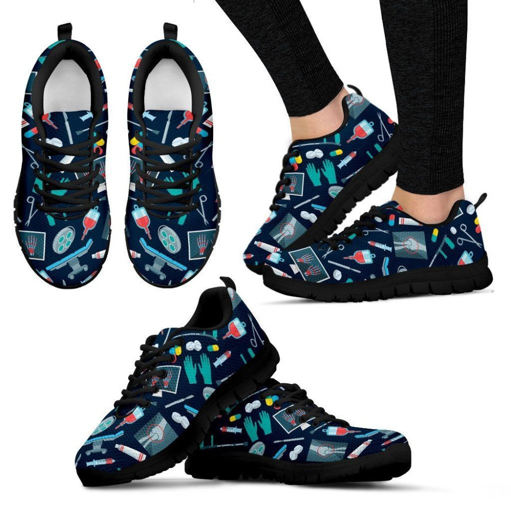 INSTANTARTS Spring Women Surgeon Flat Shoe Woman's Casual Air Mesh Zapatilla Mujers 3D Nurse Doctor Bear Print Teenager Sneakers instantarts pink sneakers women casual flats cute cartoon pediatrics bear doctor nurse pattern lady air mesh laces up flat shoes