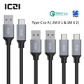 USB C to USB 3.0 Braided Nylon Cable 3 Pack 2M 1M USB 3.0 Type C Cable for Macbook Chromebook Pixel Nexus 6P and More--ICZI